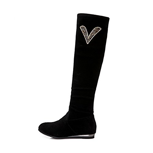 VogueZone009 Damen Rund Zehe Niedriger Absatz Rein Mattglasbirne Stiefel mit Wasser Diamanten, Rot, 38