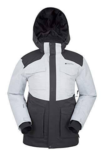 Mountain Warehouse Luna II Herren-Skijacke - wasserdichte Winterjacke, atmungsaktiv, warm, verklebte Nähte, Snowskirt, Skipass-Tasche - Kleidung für Snowboarden, Urlaub Grau Large