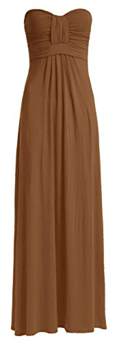 Fast Fashion Damen Maxi Kleid Plain Plus Size Knot Bug Trägerlosen Front