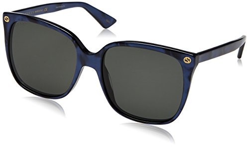 Gucci Damen GG0022S 005 Sonnenbrille, Blau (Bluee/Grey), 57