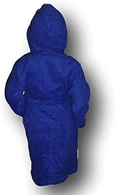 Para niños con capucha albornoz con una luna y estrellas Logo y nombre de su elección en Royal azul. Edades 2, 4, 6, 8, 10o 12