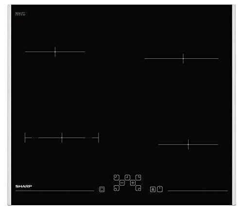 SHARP H-6V08FT00-EU Plaque de cuisson vitrocéramique/commande tactile / 4 zones de cuisson/zone de cuisson/minuterie / témoin de chaleur résiduelle/protection enfant/cadre en inox double face/noir