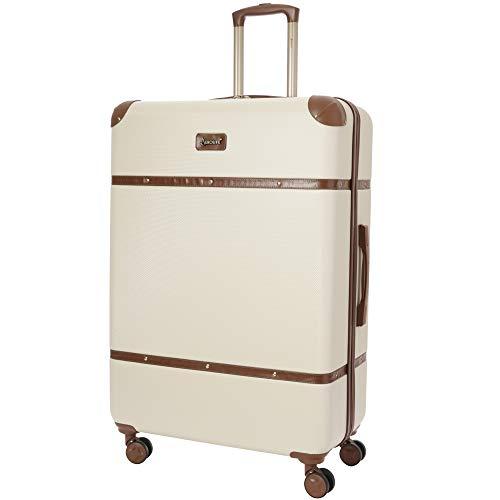 Aerolite Stilvoll Moderner Klassischer Retro Vintage Stil groß ABS Hartschalenkoffer Koffer Reisekoffer mit 4 Doppelspinnrädern, 82cm (Cremefarben)