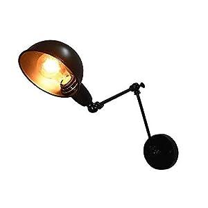 Lightess Wandleuchte Innen Retro Schwarz Wandlampe Vintage Industrie Wandstrahler mit dreh-und schwenkbarem Spot Metall Lampenschirm E27 Leuchtmittell, f. Wohnzimmer Schlafzimmer Esszimmer usw.