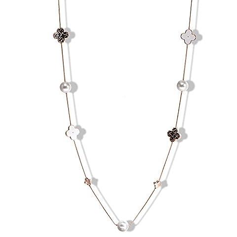 Collier Femmes Bijoux Fantaisie Pull chaîne Sautoir en forme Trèfle à quatre feuilles et Perles (Perla Del Trifoglio)