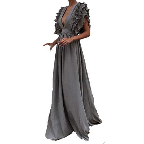 iHENGH Damen Frühling Sommer Rock Bequem Lässig Mode Kleider Frauen Röcke Plus größe solide Vintage Fly Sleeve zurück hohlen v-Ausschnitt Lange Party Dress(Grau, M)