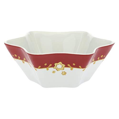 Thun® - ciotola media a forma di stella bianca e rossa con angioletto - porcellana - linea dolce natale