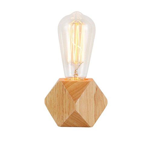 Retro Nachttischlampe Holz Schreibtischlampe Stimmungslicht für Schlafzimmer Wohnzimmer Studie Yoga Raum, Baby Zimmer, College Wohnheim, Bücherregal Tischlampe