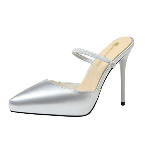 Damenmode Stiletto Spitzschuh High Heel Kleid Pump Slip-on Komfort Court Schuhe (Damen Zinn Mann Kostüm)