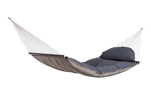 AMAZONAS Luxus Hängematte Fat Hammock Taupe Mehrpersonen 365x140cm bis 200 kg in Dunkelgrau