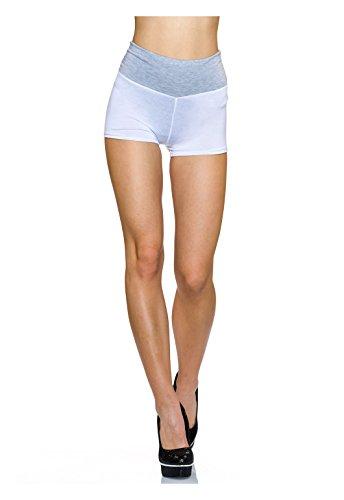 Transparente Highwaist- Hotpants mit breitem Hüftbund Weiß/Grau