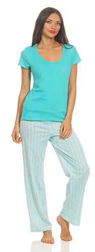 Hond Frauen Schlafanzug Gr. M - 40/42 Oberteil Grau melange Motivdruck, Hose Streifen grau melange - Streifen-satin Baumwolle Pyjama