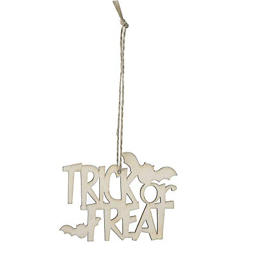 (Quaan niedlich kreativ 10 Stück Halloween Holz Chip Baum Ornamente hängend Anhänger Zuhause Dekor Geschenke Festival Fenster Kinder Zimmer Requisiten Grusel Dekorationen)