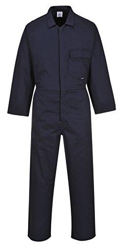 Portwest Schutzanzug Overall Baumwolle Druckknöpfe vorne Brusttasche Mechaniker Arbeitskleidung C806 - Marineblau, L