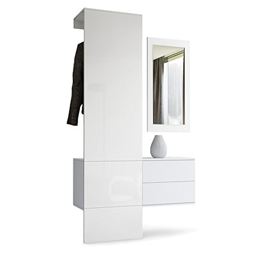 Wardrobe Hallway Furniture Coat Rack Carlton Set 2, Carcass in White matt / Panel in White High Gloss