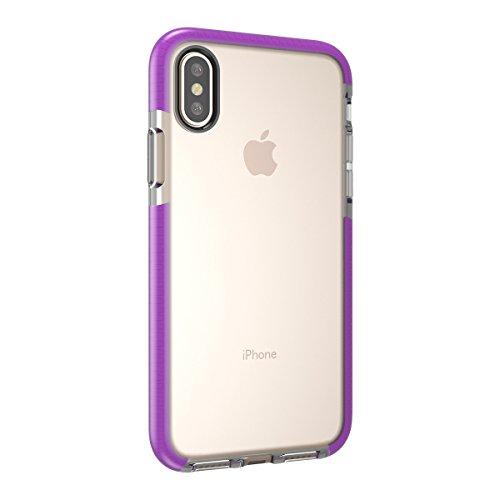 iPhone X Handycover, MOONMINI für iPhone X Transparent Weiche TPU Silikon Cover Hybrid Frame Ultra dünn Premium Bruchsicher Anti-Kratzer Schutzschale Anti-Drop Back Hülle Rosa Lila