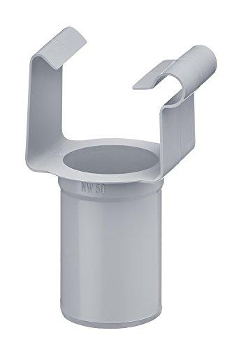 Inefa Ablaufstutzen DN 50 / NW 68, Grau kastenförmig Kunststoff, Regenrinne, Dachrinne