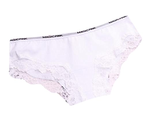 CuteRose Womens Pure Colour Lace Patchwork Cotton Perfectly Brief Panty White M (Boyshorts Satin)