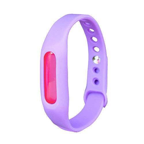 SJYYJJ Mückenschutz-Armband - Einstellbares Silikon-Schutz-Armband für Kinder für Erwachsene Pflanzenöl-Sicherheits-Mückenschutz-Armband,Purple