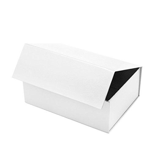 Geschenkkarton mit Magnetverschluss für Geburtstage, Weihnachten, Hochzeiten oder Werbegeschenke, luxuriöses Design A5 - 215 X 160 X 80 mm weiß (Geschenk-boxen Weihnachten)