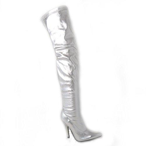 Mesdames Femme Sexy sur le genou cuisse haut talon Stiletto Bottes Stretch Taille 45678Designs Différents silver