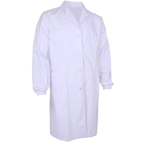 F Fityle V-Ausschnitt Arztkittel Laborkittel Labormantel Labor Kittel Mantel Arztkleidung mit Knöpfe - Weiß, ()