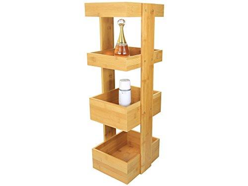 Mensole per bagno con 4 scatole, realizzato in bambù naturale
