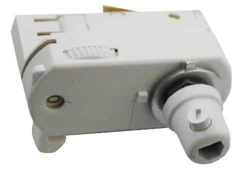 GlobalTrac 3-Phasenstromschiene Ausspeiser Stromabnehmer mit Zugentlastung für 3x0,75qmm weiß