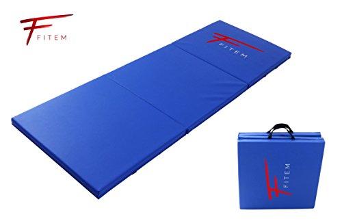 Colchoneta para gimnasia Fitem, gruesa, de gama alta - 180 x 60 x 4 cm - con asas de transporte, para gimnasio, yoga, artes marciales mixtas, deporte, gimnasia, fitness, pilates o musculación