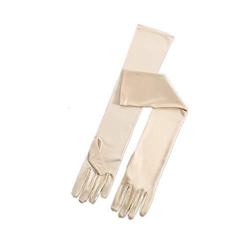 RdChicLog Party Hochzeit Satin Handschuhe Lang Brauthandschuhe Kostüm Zubehör Damen Karneval Halloween lange Handschuhe (Champagner) - Satin-oper Länge Brauthandschuhe