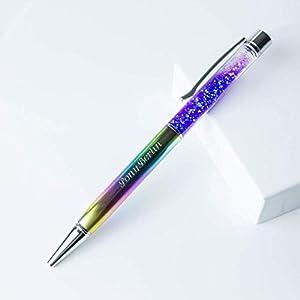 Regenbogen Stift Kugelschreiber mit Gravur   Namen   mit Glitzer gefüllt   Geschenkidee
