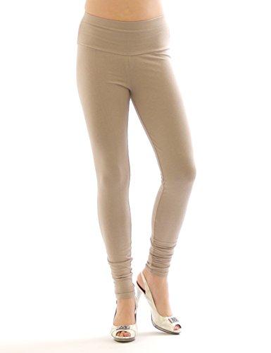 Damen Leggings hoher Bund lange Hose Leggins lang Baumwolle Wäsche beige XXXL