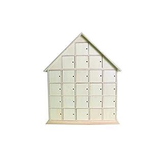 Artemio 44.5 x 35 x 7 cm Wooden House Advent Calendar to Decorate, Beige