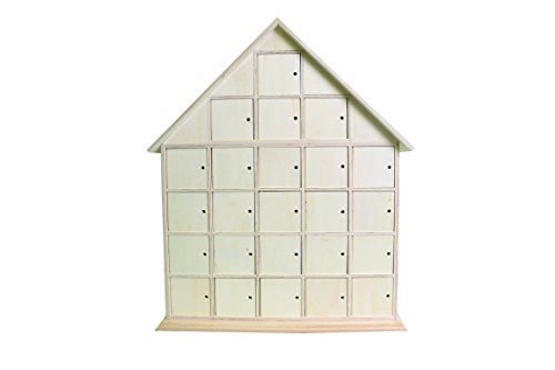 Artemio 44.5 x 35 x 7 cm Wooden House Advent Calendar to Decorate, Beige
