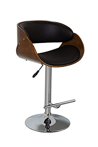Aspect Walnut Effect Wood Curved Padded Bar Stool with Brown