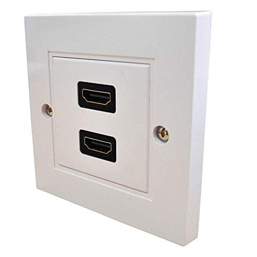 TUANMEIFADONGJI HDMI Anschluss Blei Wandplatte Full HD 1080p TV-Kabel Anschlussbuchse Quadratisch Weiß Eingebettetes Doppelwandpanel für HDMI-Kabel - einfache Installation 2-modul-back-box
