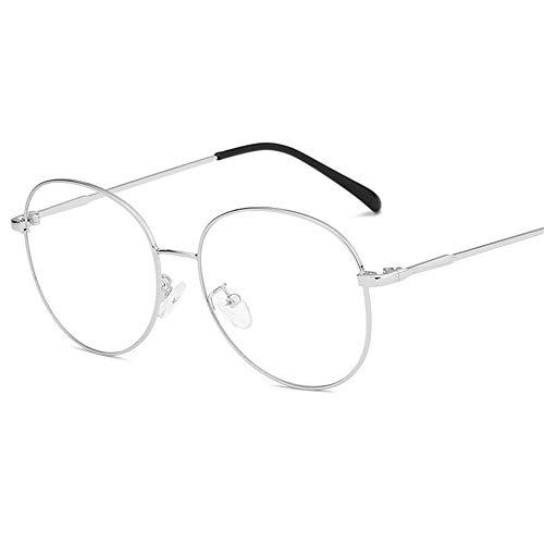 Multi-Frames brillengestell Brillenfassungen Brillen Flacher Spiegel des großen Rahmens dünnes Gesicht ultraleichte Metallgläser, silberner Rahmen