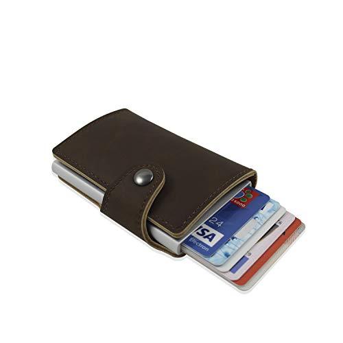 Cartera cuero tarjetas. Cartera bloqueo RFID. Cartera