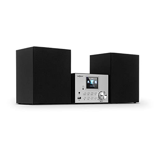 "oneConcept Streamo Stereoanlage mit Internetradio - Radioempfang per WLAN, DAB/DAB+ und UKW, 2X 10W RMS Lautsprecher, Bluetooth, CD-Player, Anschlüsse: USB, AUX-IN, 2,4"" HCC Display, Silber"