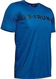 Under Armour Men's UA Run Warped Shortsleeve T-Shirt, Blue (Teal Vibe/Black/Reflective), X-L