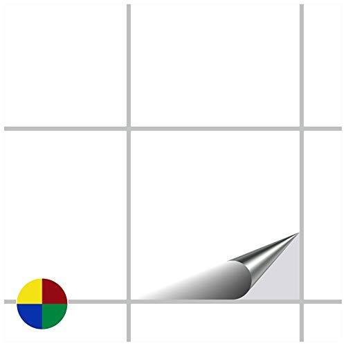 FoLIESEN Fliesenaufkleber 15x15 cm - Fliesen-Folie Bad - Klebefolie Küche - 200 Klebefliesen, Weiß Klassik seidenmatt
