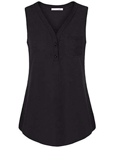 Button-up-shirt (Messic ärmellose Shirts für Frauen, Damen Button-Up ärmelloses Shirt V-Ausschnitt lässig fließende Business-Tanktop (schwarz, mittel))