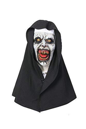 Wellgift Halloween Nun Maske & Kopfstück Frauen Scary Voller Kopf Nonne Helm Cosplay Kostüm Karneval Fancy Dress ()