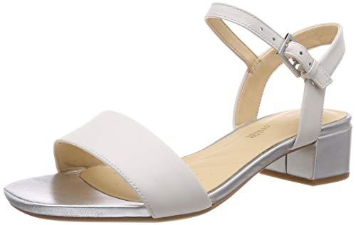 Clarks Orabella Iris, Sandali con Cinturino alla Caviglia Donna, Bianco (White Combi Leather-), 39 EU