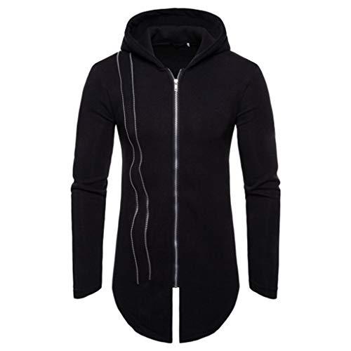 Manadlian Herren Lange Winterjacke Herbst Winter Lange Ärmel Reißverschluss Spleißen Hoodies Sweatshirt Trainingsanzüge
