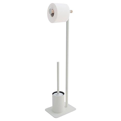 Sealskin Stand WC-Garnitur Brix, WC-Butler aus Metall und Holz, Farbe: Weiß, 20 x 15 x 71,5 cm