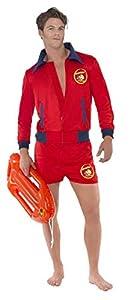"""Smiffys-20587M Pirata Licenciado Oficialmente Disfraz de Vigilante de la Playa de Baywatch, con Parte de Arriba y bermud, Color Rojo, M-Tamaño 38""""-40"""" (Smiffy"""