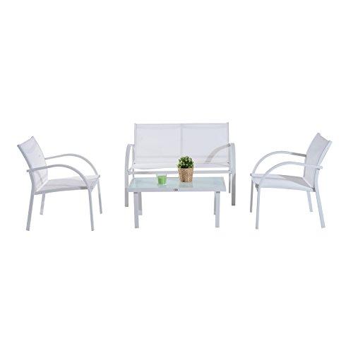 Conjunto de Muebles para Jardín Patio y Terraza 4 piezas Mesa de Vidrio Templado y Sillas de Textilene Color Blanco