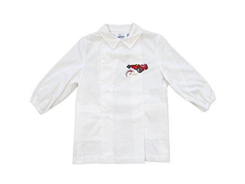 Siggi grembiule bambino asilo 2/6 anni bianco/azzurro con disegno formula 1, grembiule maniche lunghe con polsini - art. 3066 (3 anni | 98 cm, bianco)