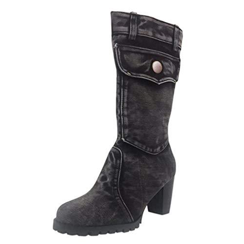 feiXIANG Damen Herbst Winter Schuhe Stiefel Freizeitschuhe Schuhe Elegant Chunky high Heels Denim Boots (Dunkelgrau,42) -